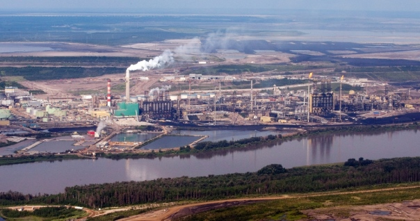 Tar Sands in northern Alberta, where Native band councils work with industry and benefit from the toxic destruction of their environment.