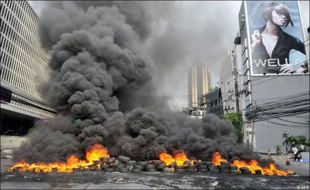 If you think the Mi'kmaq tire fires are bad, check out this massive one set by Red Shirts in Thailand, 2010.