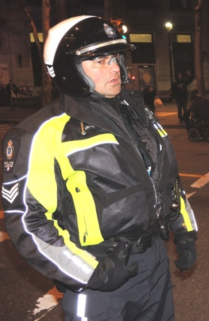 "VPD Sgt Ken Athan at Dec 2, 2013, ""solidarity"" rally in Vancouver."