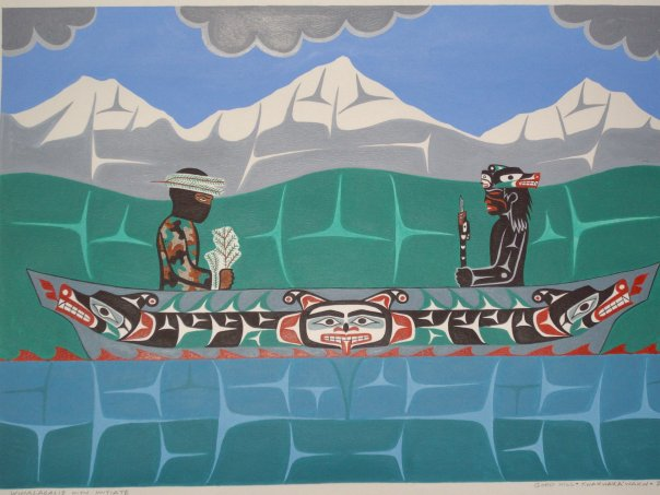 Winalagalis (on right) with initiate, painting by Gord Hill, Kwakwaka'wakw.