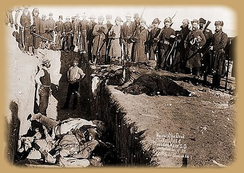 A mass grave at Wounded Knee, 1890.