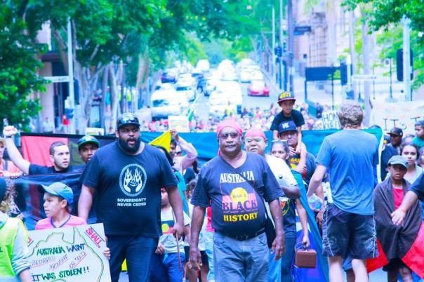 Front of the march in Brisbane on Invasion Day, Jan 26, 2014.