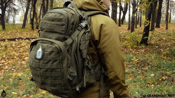 5.11 backpack, the Rush 72, shows a typical medium sized pack used for BOBs.