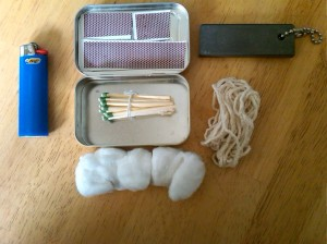 Example of a fire starting kit, with a Bic lighter, water proof matches, tinder, and magneisum block.