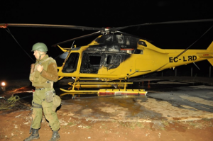 Forestry company helicopter after arson attack, Dec 31, 2013.