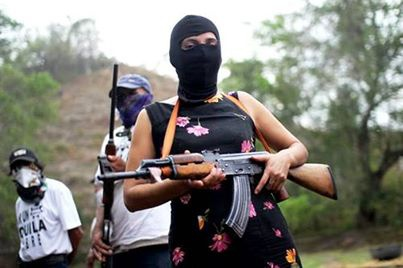 A female member of the Aguila Self Defence Group.