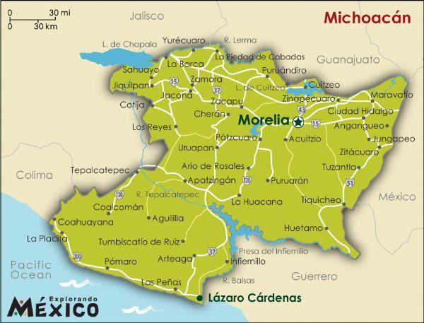 Mexico michoacan map
