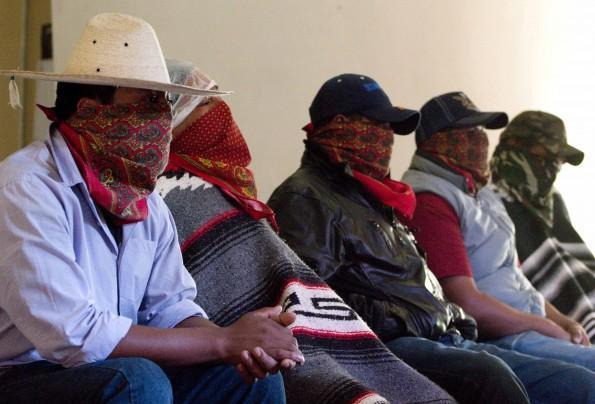 Purepecha indigenous militia members in Michoacan in mid July.