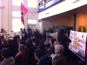 Part of the crowd assembled to disrupt Fontaine's speech, Jan 22, 2014, at the University of Winnipeg.