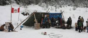 Sinixt winter camp at Mt Sentinel, January 2014.