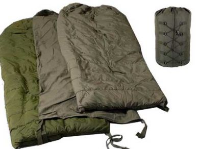 Canadian military sleeping bag system; an outer, a flannel liner, and an outer, with waterproof valise carrier on right.