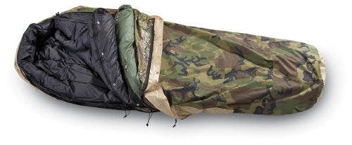 US military modular sleep system (MSS), with black inner bag, green outer, and camo bivy bag.