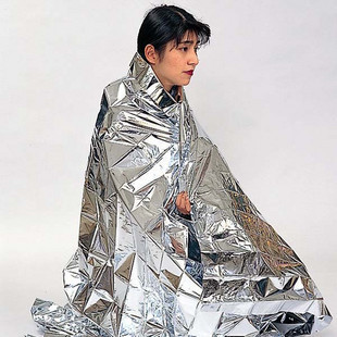 Survival or emergency blanket, a Mylar material that keeps in body heat.