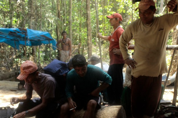 Some of the miners evicted from Munduruku territory in Brazil, Feb 2014.