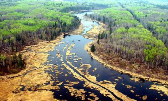 Aerial view of oil spill near Cold Lake, Alberta.