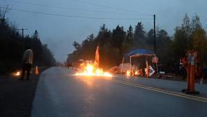 Molotov cocktails thrown on Oct 17, 2013, during RCMP raid on anti-fracking blockade near Rexton, NB.