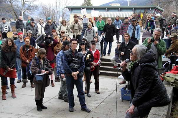 Marilyn James of the Sinixt nation speaks to supporters at Nelson, BC, court house, March 17, 2014.