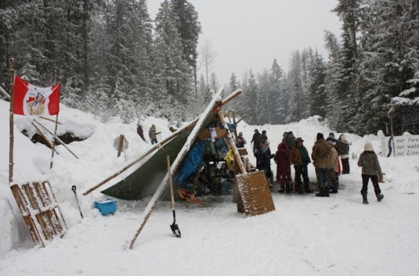Sinixt blockade camp, March 2014.