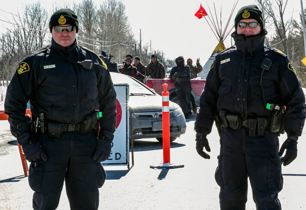 Ontario Provincial Police at Tyendinaga blockade, March 2014.  Photo by Dawn Barger.