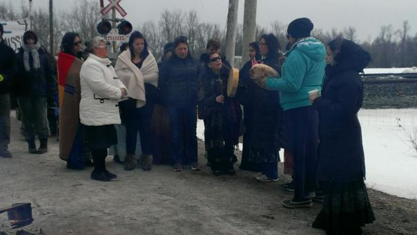 Women from Tyendinaga lead blockade of VIA Rail train, March 19, 2014.