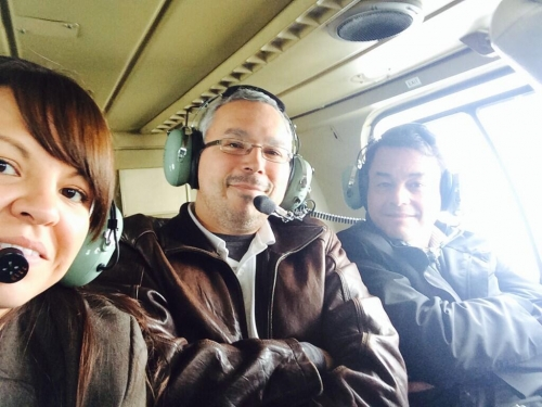 Indian Act chiefs and AFN grand chief tour the Fort Nelson area in a helicopter.