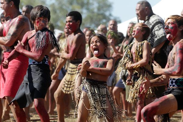 Maori children participate in 150 year commemorations of 1864 Battle of Orakau.