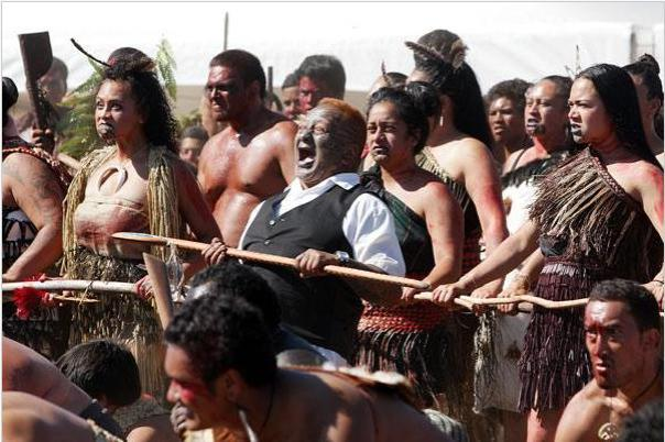 Women warriors participating in 150 year commemorations of Battle of Orakau.