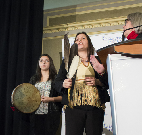 Mi'kmaq women disrupt energy conference in Nova Scotia, March 31, 2014.