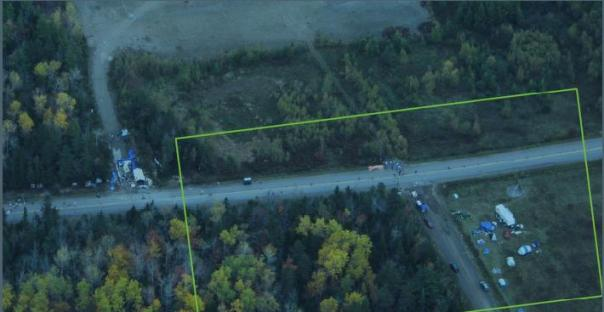 RCMP High Altitude Surveillance Plane image of the blockade and camp site near Rexton, NB.