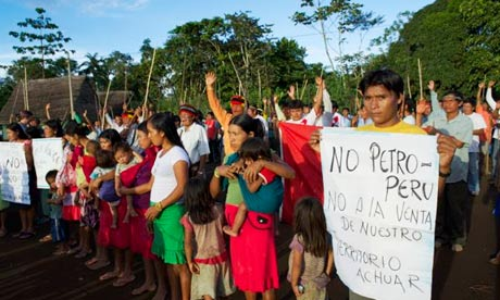Achuar protest against oil companies, May 2013.