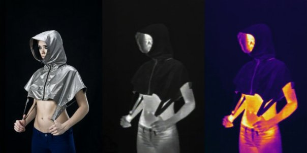 A hoodie designed to defeat thermal imaging, made by Stealth Wear.
