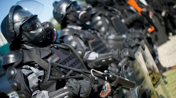 "Brazil ""robo cops"" set up for World Cup protests."