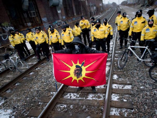 Train blocked in Toronto, February 2013.