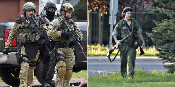 Members of RCMP ERT (left) and Jason Bourque, alleged to have shot and killed 3 RCMP officers in Moncton, New Brunswick.
