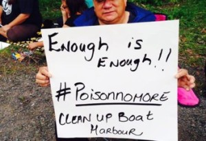 Mi'kmaq protest effluent spill near Pictou Landing FN, June 10, 2014.