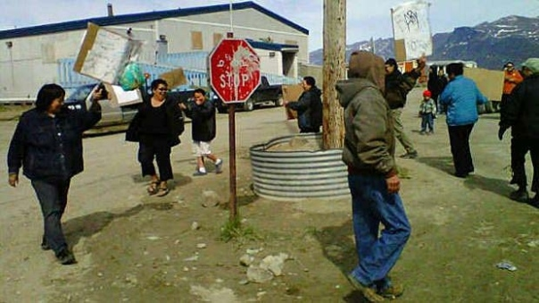 People in Pangnirtung, Nunavut protesting high food prices in June 2013.