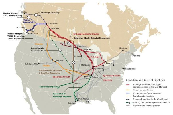 Pipelines proposed N America map