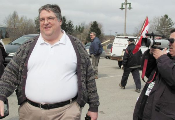 Gary McHale and his stomach attracting more media attention at Six Nations land reclamation.