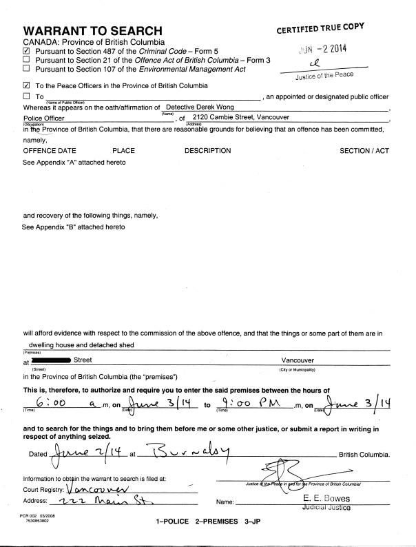 Warrant 1 Redacted