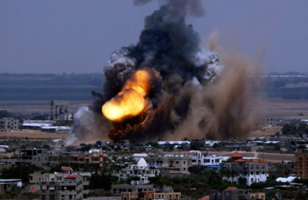 A massive explosion hits Gaza Strip as Israeli forces bomb heavily populated areas.