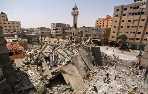 A mosque destroyed by Israeli bombing in Gaza Strip, July 2014.