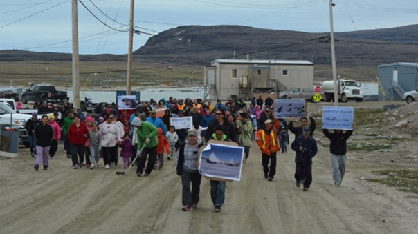 Over 300 Inuit protest fracking on Baffin Island, July 2014.