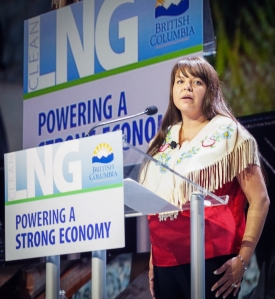 Fort Nelson FN chief Sharleen Gale speaking at LNG conference.