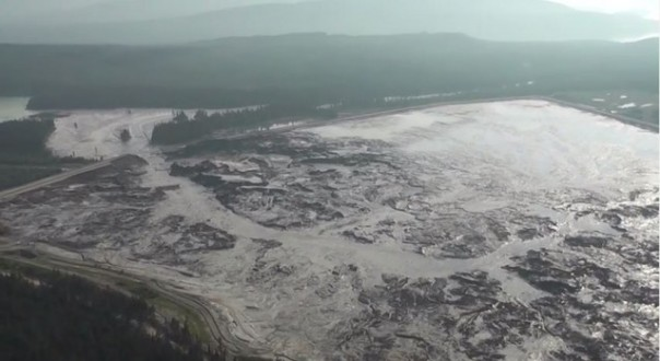 Aerial view of the Mount Polley tailings pond breach.