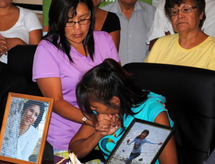 Shirley Paul (right), mother of Samantha Paul, is consoled by her sister Joyce Paul, during a press conference at the Tk'emlups Indian Band offices on Monday, Aug. 11.