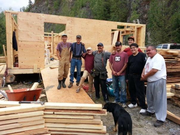 Gitxsan building a house at Madii Lii camp.