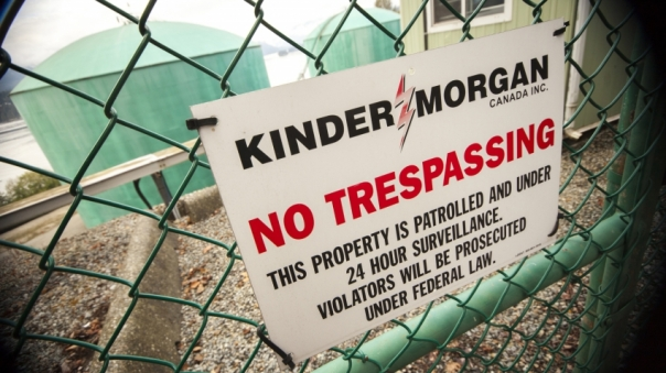 Kinder Morgan Westridge Marine Terminal gate - photo by Mychaylo Prystupa, Vancouver Observer.