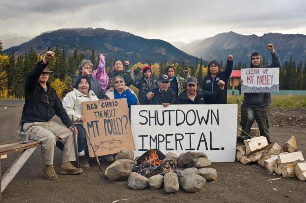 Tahtlan, members of Secwepemc delegation and comrades from Yuct Ne Senxiymetkwe Camp blockade Red Chris Mine site, Sept 29, 2014.