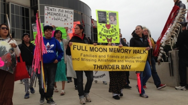 Full Moon Memorial Walk in Thunder Bay, Ontario.