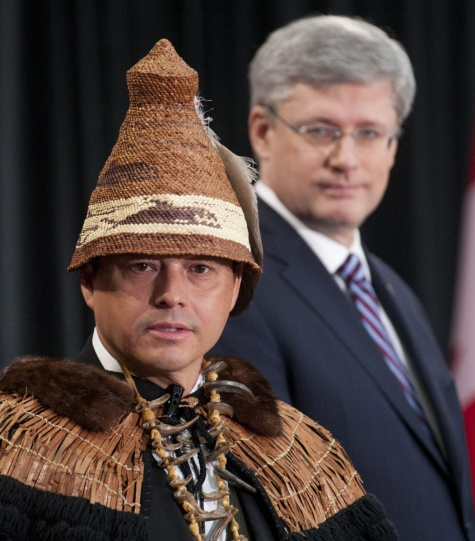 Former AFN 'grand chief' Shawn Atleo with his political master, PM Stephen Harper, looking on.